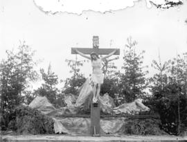 [Statue of Jesus Christ on cross, erected for Passion Play at St. Mary's Church, Mission]