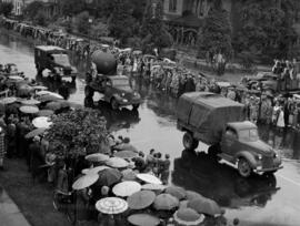 Military vehicles in Canada Pacific Exhibition's All Out for Victory Parade