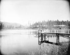 [Partially constructed Jordan River Power Plant, showing Forebay Reservoir and penstock intake co...