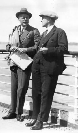 "[Colonel R.S. Chaplin and Captain H.T. Munn on board ""The Duchess of York""]"