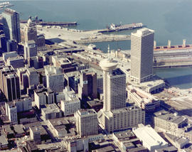 [Aerial view looking northwest towards the Downtown waterfront]