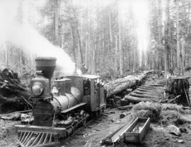 "[""Old Curly"" and train load of logs at the Royal City Planning Mill's camp]"