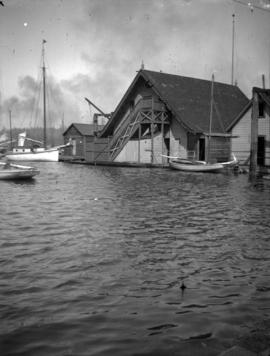 [Boathouses on south side of Coal Harbour]