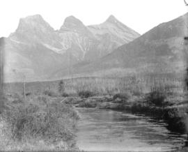 [Three Sisters mountain peaks near Banff]