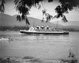 "Canadian National Railways steamship ""Prince Robert"" leaving harbour"