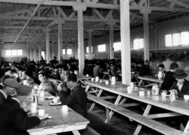 Japanese Canadian men and boys in mess hall, Forestry and Indian building, Building E, during Jap...
