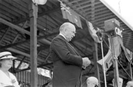 Prime Minister of Canada, Richard Bedford Bennett, speaking at Brockton Point for the Golden Jubi...