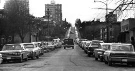 Lines of parked cars along West First in Kitsilano