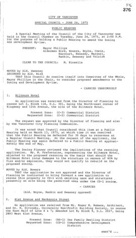 Special Council Meeting Minutes : June 24, 1975
