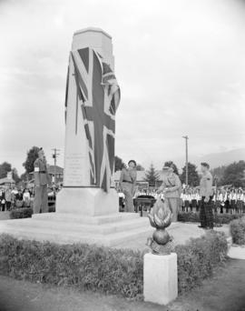 [Lord Alexander unveiling a war memorial to the Royal Canadian Engineers]
