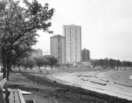 English Bay beach, showing renovated bathhouse