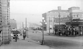 [View of Hastings Street and C.P.R. pier D, looking north from Granville Street]