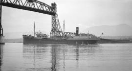 S.S. Warwick passing under 2nd Narrows [Bridge] span 1st boat in daylight