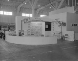 [B.A. Oil Company travel service booth at an exhibition]
