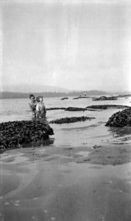 [James and Kenelm Quiney wading at the beach at the foot of Alma near Cameron Avenue]