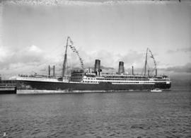 "M.S. ""Aorangi"" [Union Steamship Co. of New Zealand passenger liner - first arrival in V..."