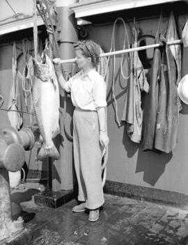 Miss Janet Ferrier with large spring salmon