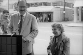 Mike Harcourt and Theresa Galloway at drinking fountain inauguration