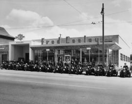 Motorcycle Squad [outside Fred Deeley showroom]