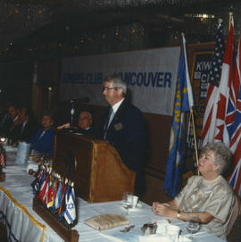 Man speaking at the Kiwanis Club Centennial luncheon