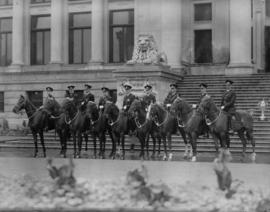 [Vancouver Police Mounted Squad on horseback in front of Court House]