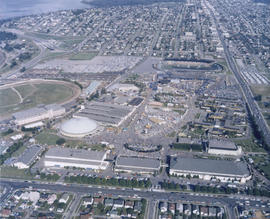 Aerial view of P.N.E. grounds and surrounding area looking east