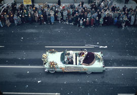 43rd Grey Cup Parade, on Granville Street, Miss Canada Whitehorse Yukon car and spectators