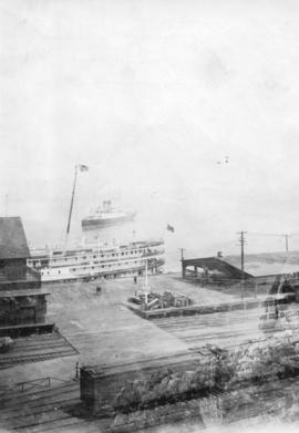 Steamship Patricia approaching C.P.R. Wharf - with Board of Trade & guests from Nanaimo [Prin...