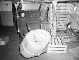 Coil of rope in the hold of a C.P.R. steam ship