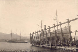 "[New England Fish Co.'s steam trawler S. S. ""New England"" in dry dock at B.C. Marine Ra..."