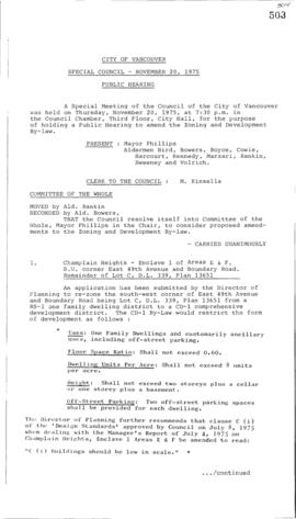 Special Council Meeting Minutes : Nov. 20, 1975