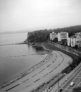 View of English Bay beach, Englesea Lodge and West End building