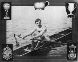 [James N.J. Brown in a scull]