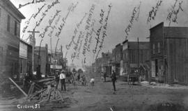 Cordova Street [looking west from Carrall Street] : July 1886 - five weeks after the fire.