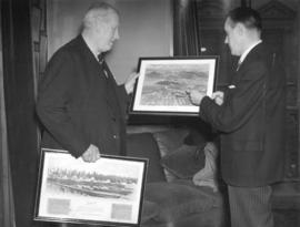 [The Earl of Granville receiving pictures of Vancouver from Mr. W.A. McAdam]