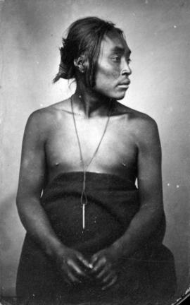 [Studio protrait of an unidentified First Nations man]