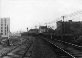 [View of the C.P.R. tracks looking east from Campbell Avenue]