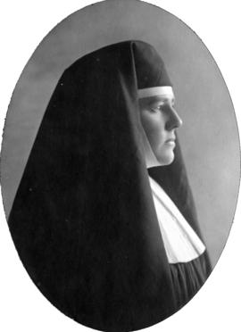 [Daisy D'Avara, actress, profile portrait in role of a nun]