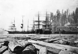 [View of ships at the Moodyville wharf]