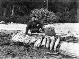 [James Crookall with salmon catch at Bargain Harbour]