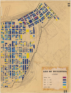 1954 : Age of buildings : Maps 20 and 21 : Downtown and West End