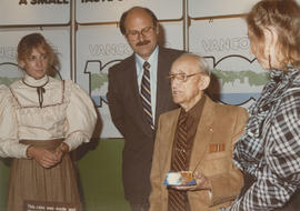 Gail McCormick, Mike Harcourt, unidentified man and Kerri Groves at the Future Fair