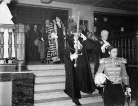 Sir Percy and entourage enter Crystal Ballroom, Hotel Vancouver, August 21st 1936