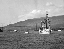 "[R.C.M.P. schooner ""St. Roch"" and H.M.C.S. ""Labrador"" enter Vancouver Harbour]"