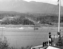 View from Prospect Point showing barge which started operations on North Shore waterfront.  Note ...