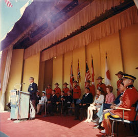 P.N.E. President H. Fairbank speaking at 1969 P.N.E. Opening Ceremonies on Outdoor Theatre stage