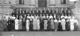 [Unidentified group photograph on Court House steps]
