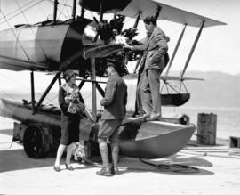 John Bowers and Marguerite De La Motte, Pantages stars at Jericho [Aircraft is Canadian Vickers-b...