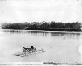 Ferrying across the Saskatchewan River at Edmonton, N.W.T.