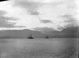 [View of two Japanese warships in Burrard Inlet]